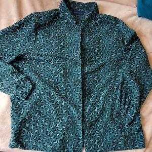 Karen Scott Turquoise  Cheetah Button Down Blouse